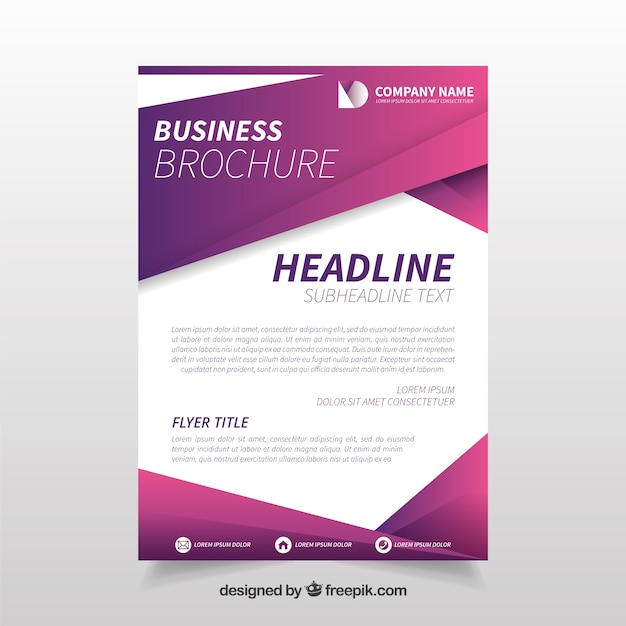 Purple geometric business flyer template Free Vector