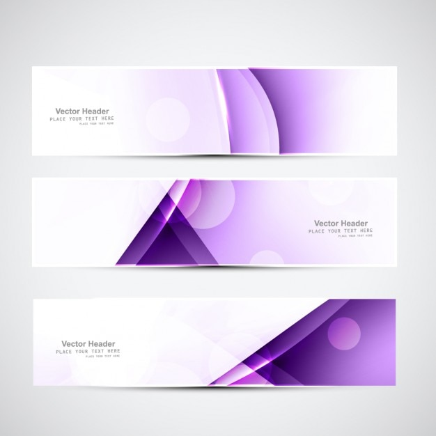 purple geometrical banners vector free download