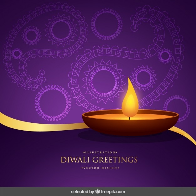 Purple and gold diwali greeting Free Vector