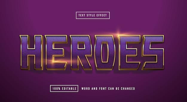 Purple gold text effect editable Premium Vector