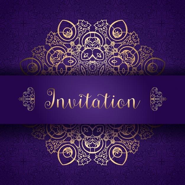 Purple and golden invitation Free Vector