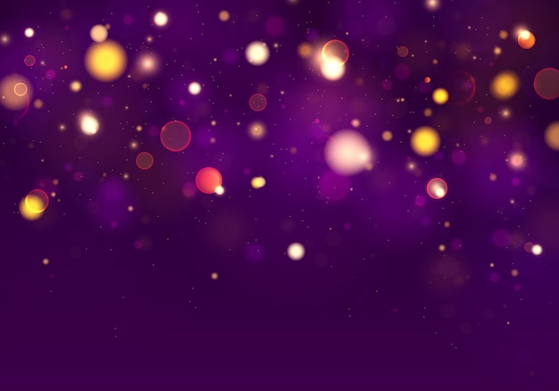 Purple and golden luminous background with lights bokeh. Premium Vector