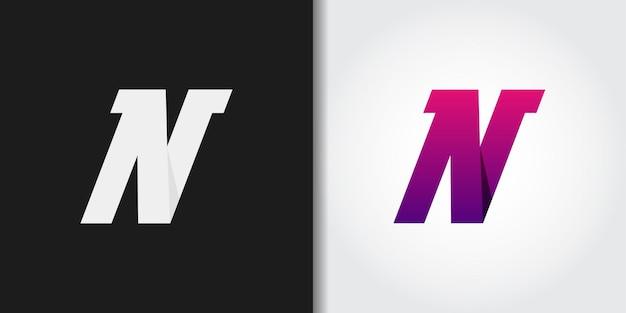 紫のグラデーション文字nロゴセット Premiumベクター