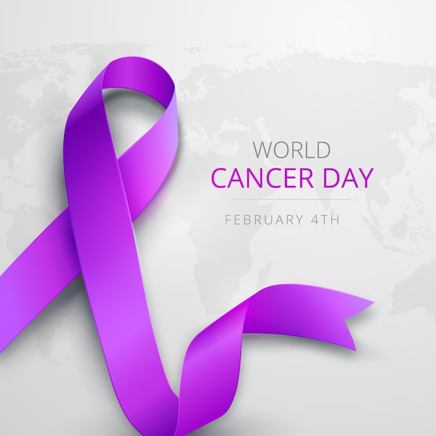 Nastro viola sfumato giornata mondiale del cancro Vettore gratuito