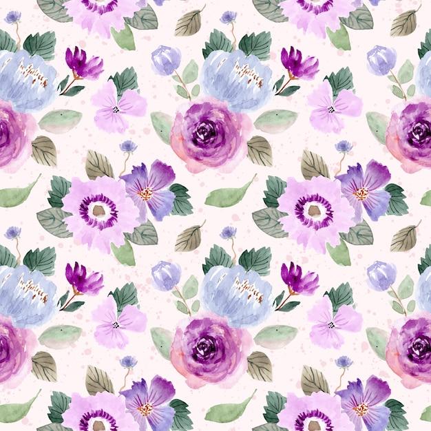 Purple green floral watercolor seamless pattern