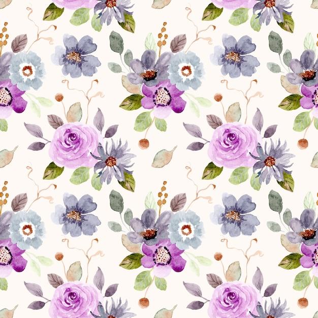 Purple green flower watercolor seamless pattern