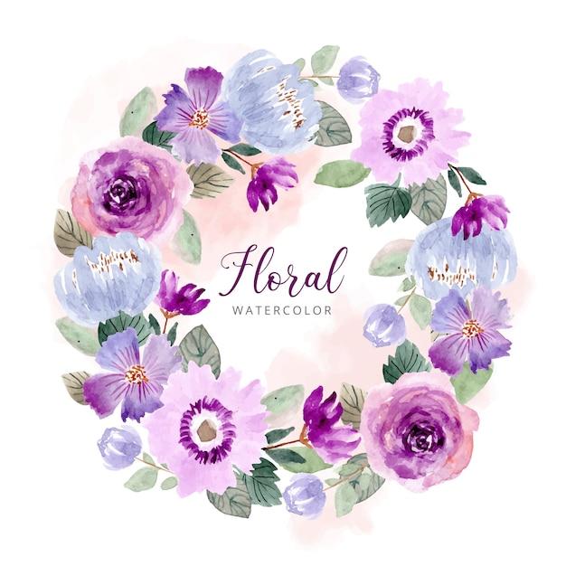 Purple green flower watercolor wreath template