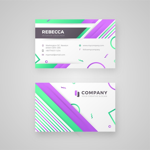 Purple green line and diagonal shape business card vector premium purple green line and diagonal shape business card premium vector reheart Gallery