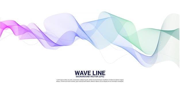 Purple green sound wave line curve on white background. Premium Vector