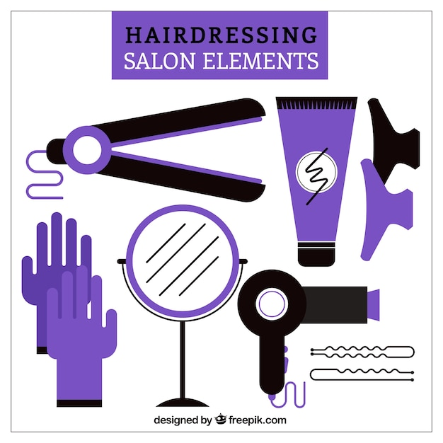 Purple hairdressing salon elements vector free download for 365 salon success
