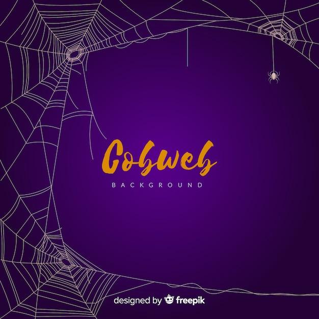Purple halloween cobweb background Free Vector