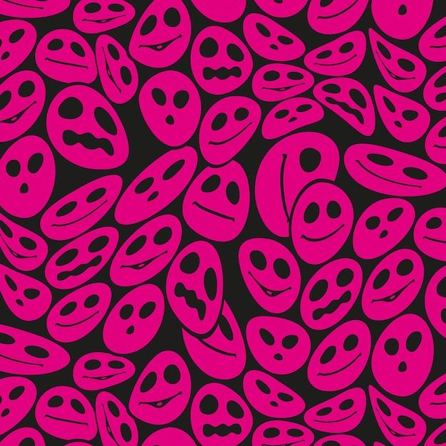 紫のハロウィーンの歪んだ顔文字パターンテンプレート 無料ベクター