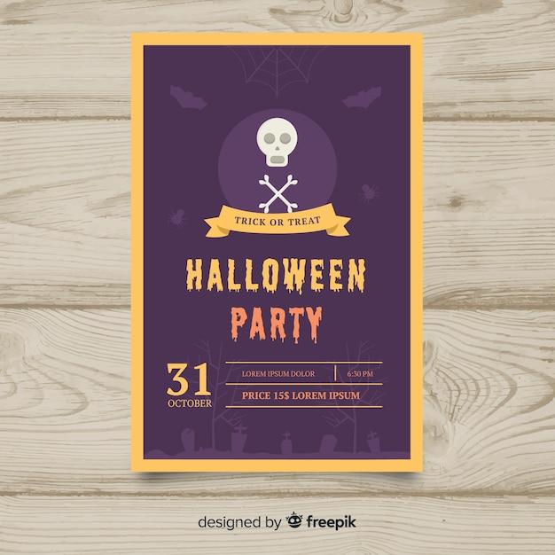Фиолетовый шаблон для вечеринки в честь хэллоуина Бесплатные векторы