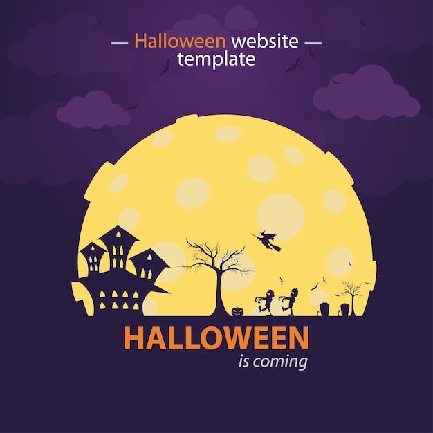 Purple Halloween Website Template Halloween Is Coming Vector