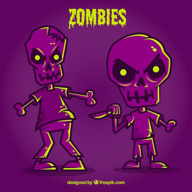 Purple halloween zombies Free Vector