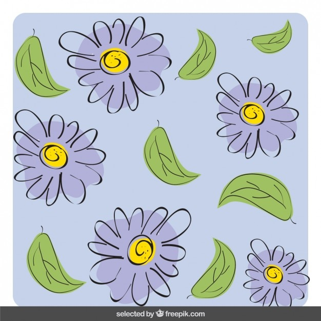 Purple hand drawn flowers | Stock Images Page | Everypixel