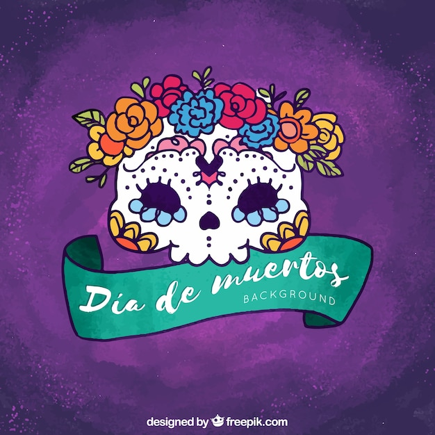 Purple hand drawn mexican skull\ background