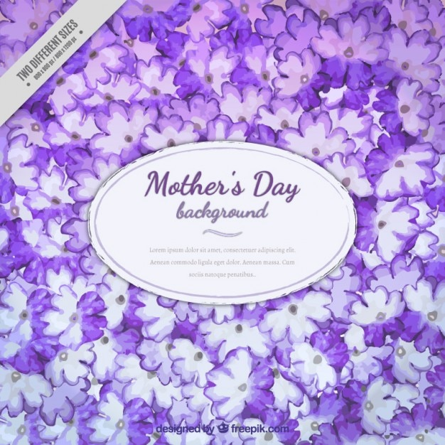 Purple hand painted flowers mother\'s day\ background