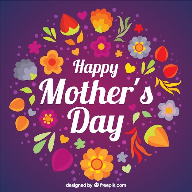 Purple Happy Mother's Day background with flowers Vector