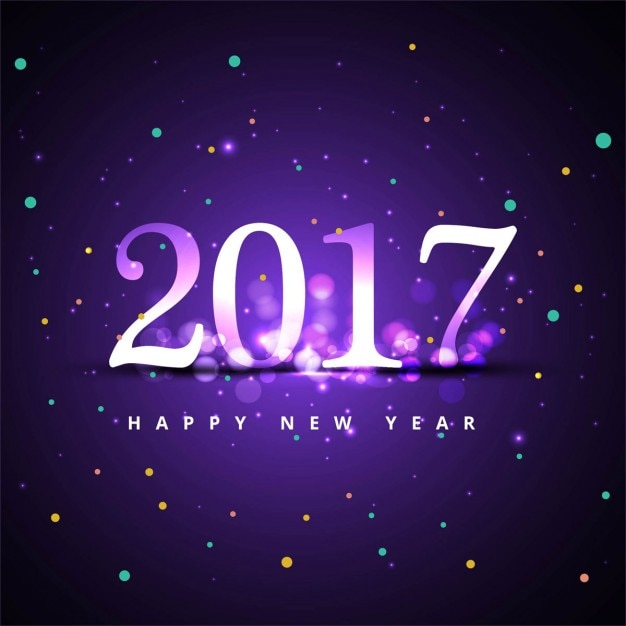 Purple happy new year 2017 background with\ circles