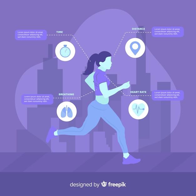 Purple health infographic flat design Free Vector