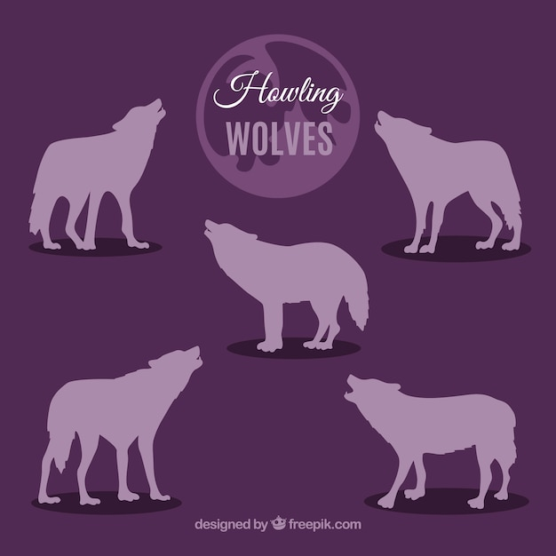 紫色のハウリングオオカミのシルエットコレクション 無料ベクター