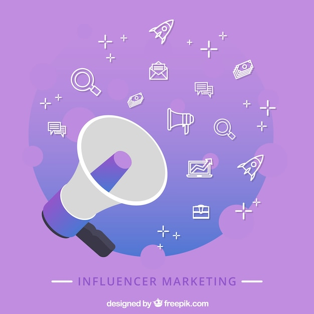 Purple influencer marketing concept with speaker Free Vector