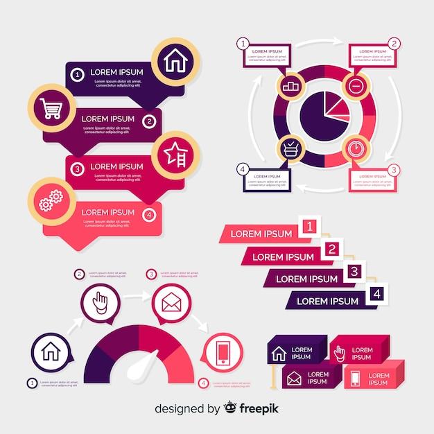 Фиолетовый инфографики шаблон в плоском дизайне Бесплатные векторы