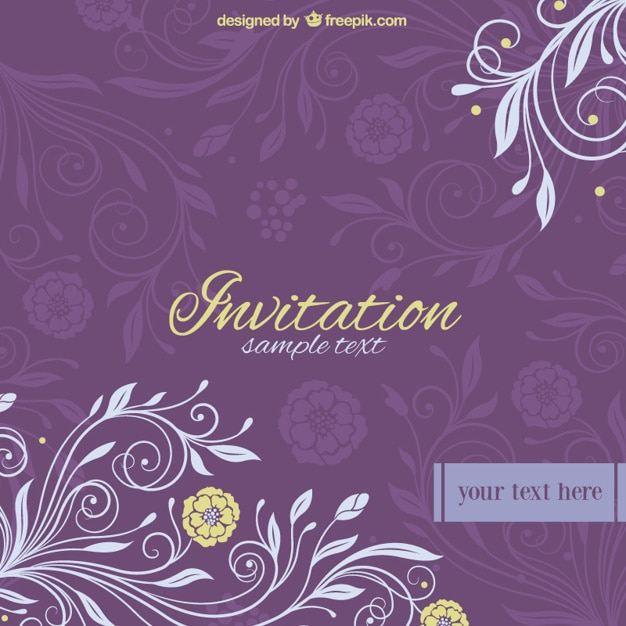 Purple invitation with flowers Free Vector