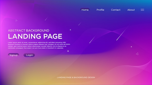 Purple light abstract landing page background Premium Vector