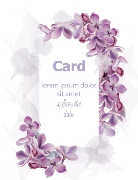 Purple lilac flowers card invitation watercolor Premium Vector