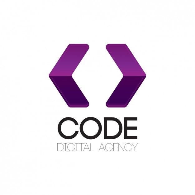 Purple logo with arrows shape Free Vector