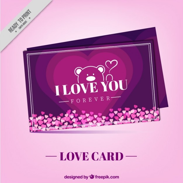 Purple love card with a bear and little\ hearts