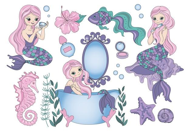 Море путешествие клипарт цветная векторная иллюстрация набор purple mermaid Premium векторы