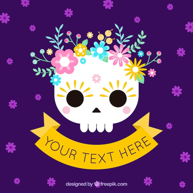Purple mexican skull flowers background