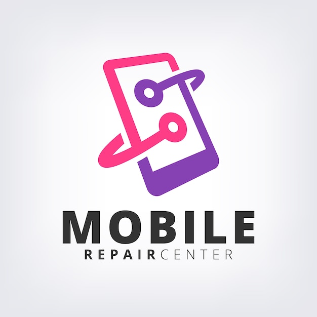 Purple mobile phone fix & repair logo icon template Premium Vector