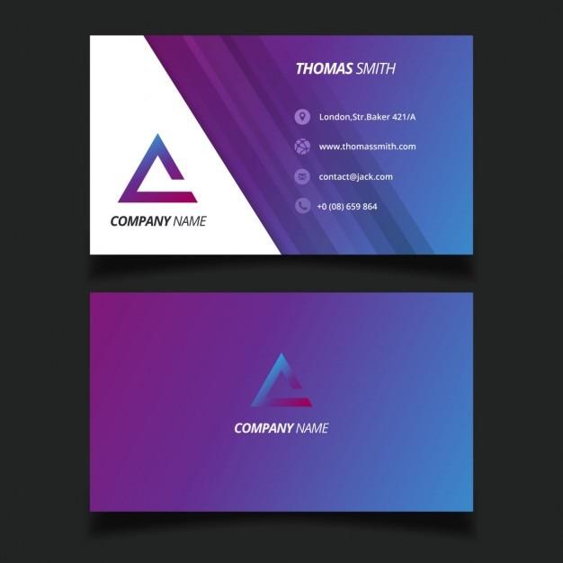purple modern business card with a triangular logo vector free