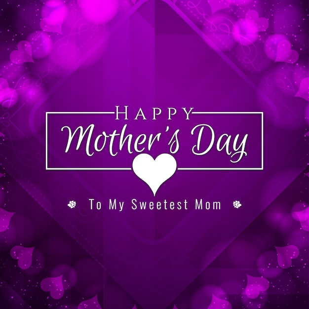Purple mother's day design Free Vector