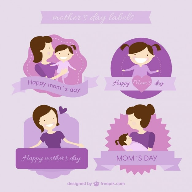 Purple mother\'s day labels