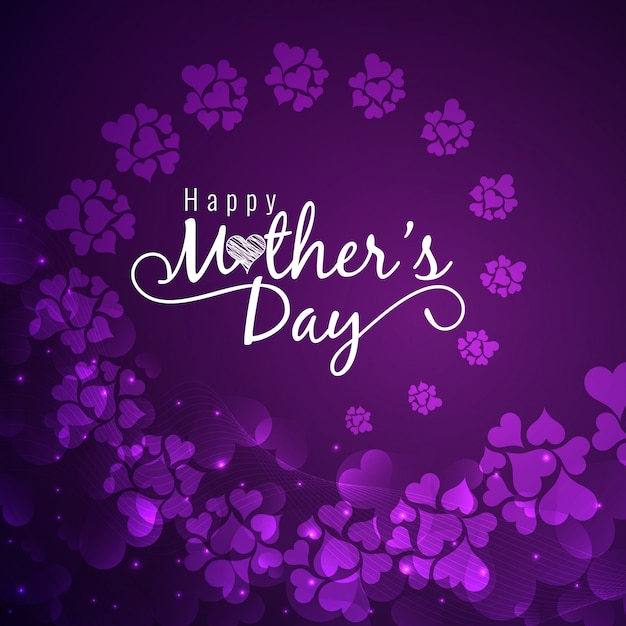 Purple mothers day design with flowers