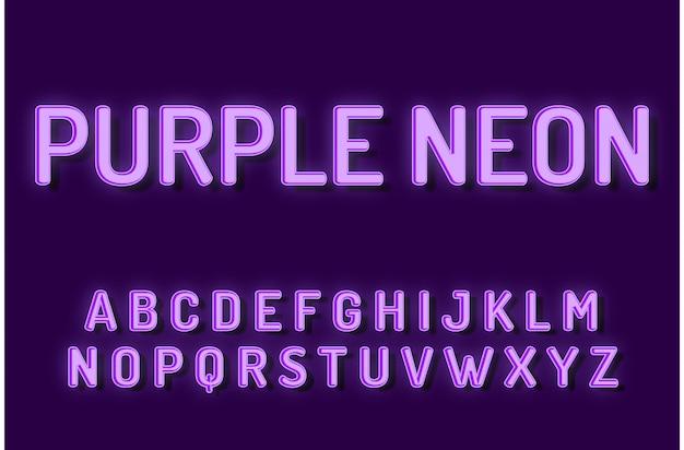 Purple neon font alphabet text effects Premium Vector