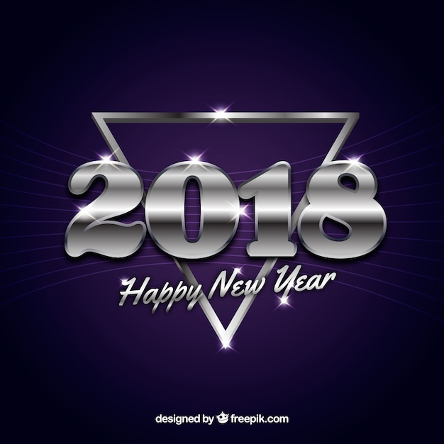 Purple new year background with a silver triangle