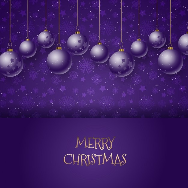 purple new year background with christmas balls free vector