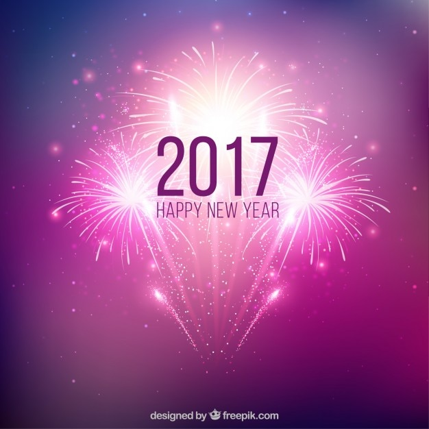 purple new year fireworks background free vector