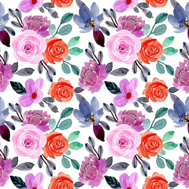 Purple and orange flower watercolor seamless pattern Premium Vector