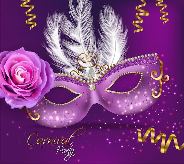Purple ornamented mask card Premium Vector