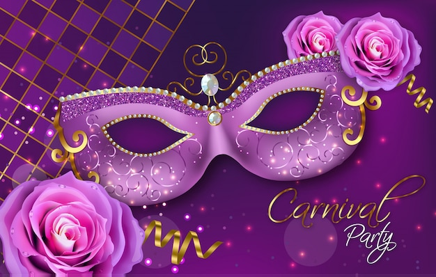 Purple ornamented mask and rose flowers Premium Vector