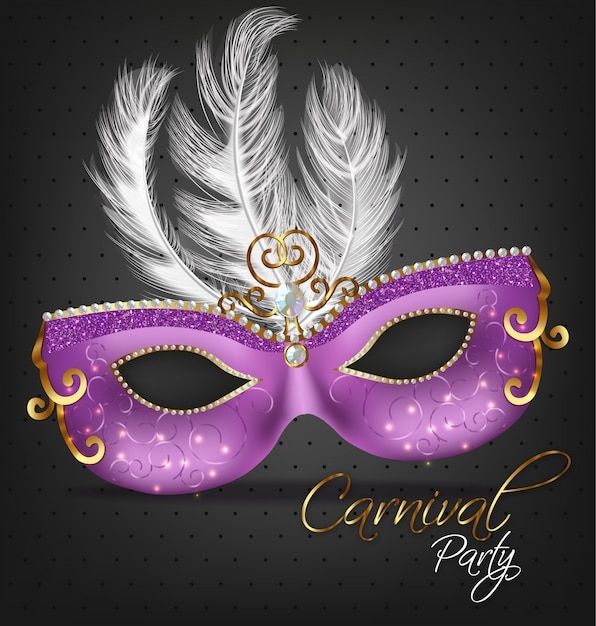 Purple ornamented mask with feathers Premium Vector