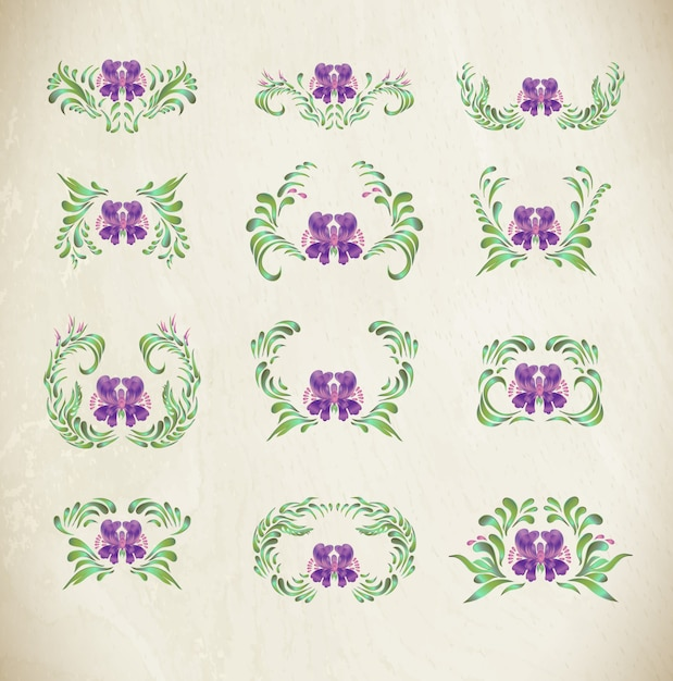 Purple ornaments with borders Premium Vector