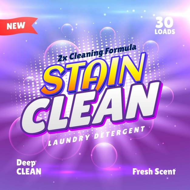 Purple packaging with bubbles for cleaning products Free Vector